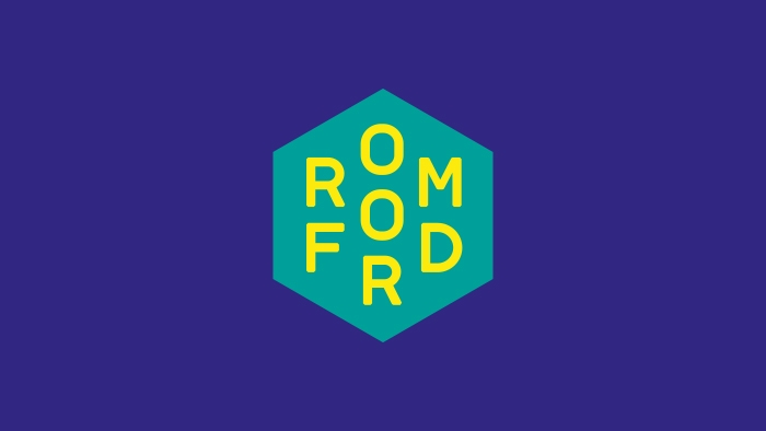 The Romford logo by Nixon Design, yellow on green on blue.
