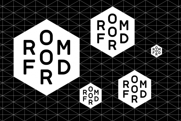 The Romford logo at different sizes on a grid.