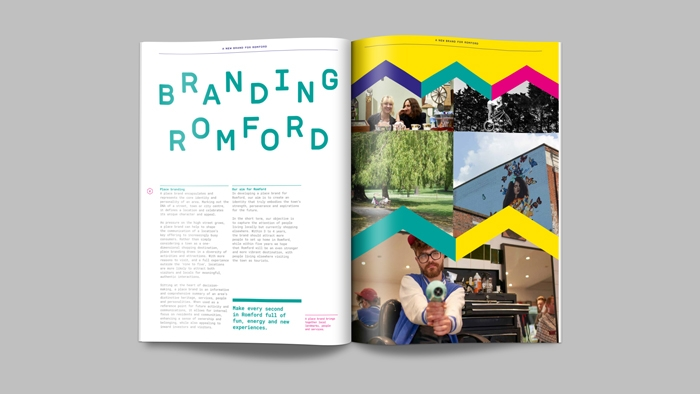A page in the Romford brand values, with 'Branding Romford' in alternating text.