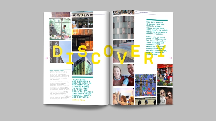 The word 'Discovery' written across a double-page spread of images and text in the Romford brand guidelines.