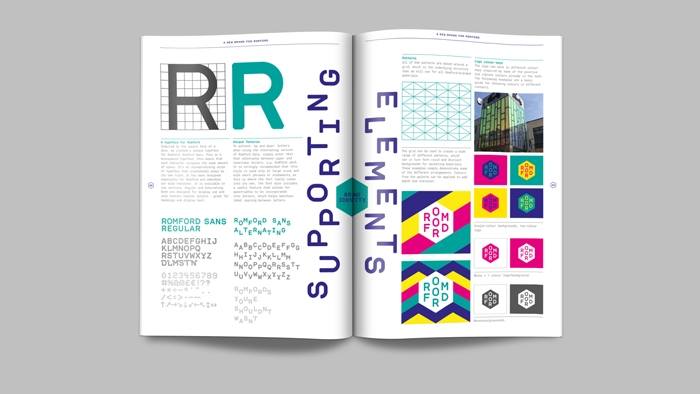 Supporting elements from the Romford brand guidelines, including typography, patterns and colours.