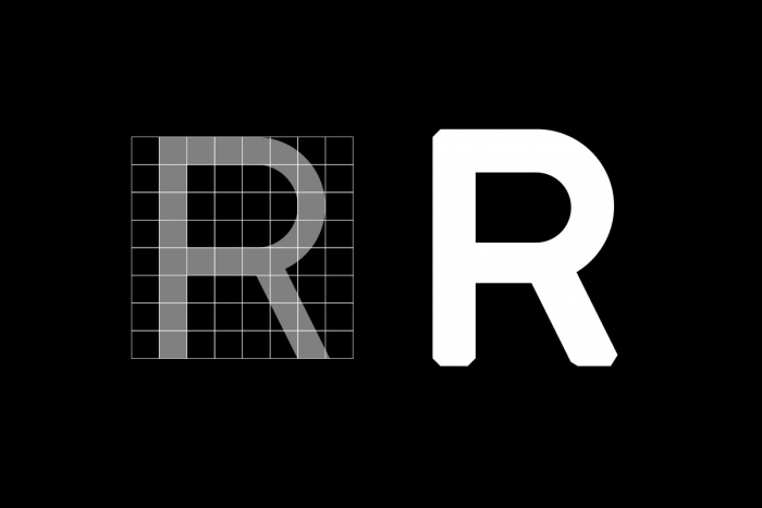 The letter R from the Romford typeface.