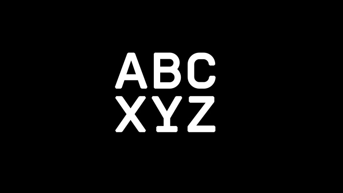 ABC XYZ in the Romford typeface.