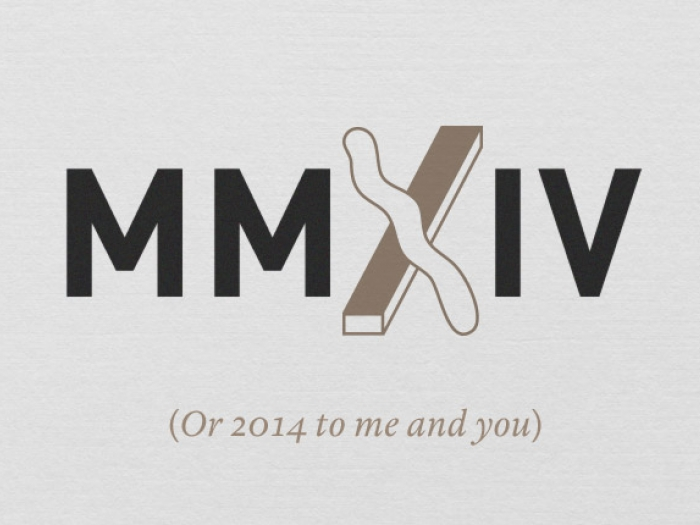 A graphic of the Roman numerals MMXIV.