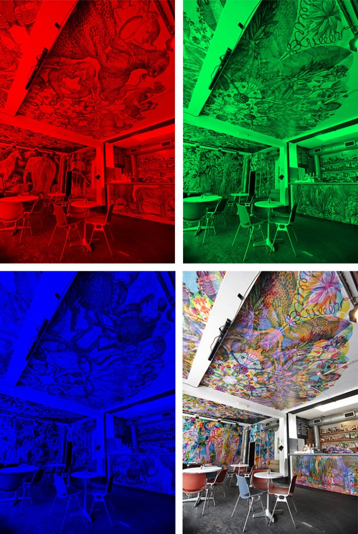 A painted room which, when seen through different coloured lenses, shows different illustrations.