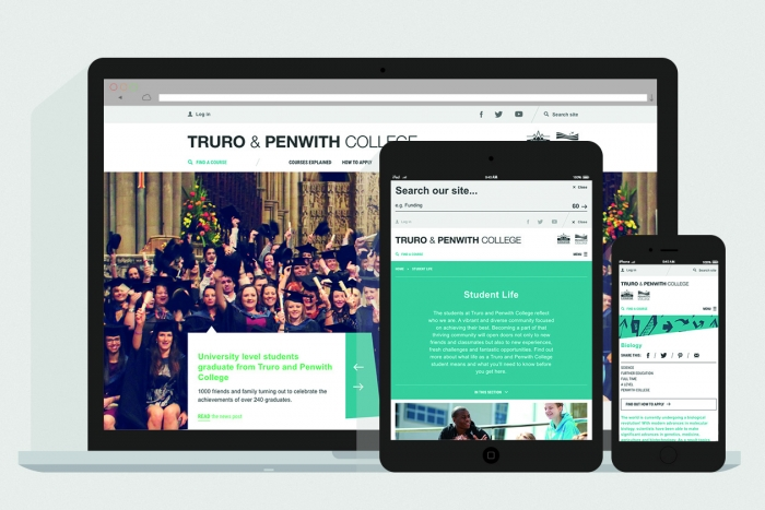 The Truro and Penwith College website mocked up on laptop, tablet and mobile.