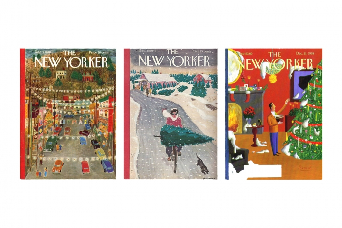 Three old covers of The New Yorker magazine.