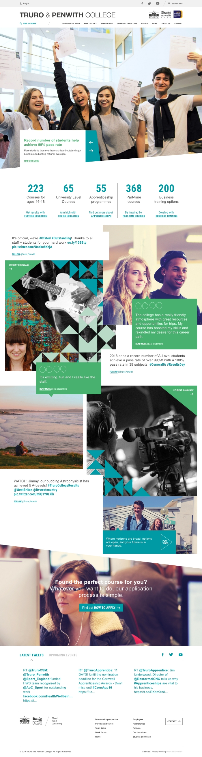 The Truro and Penwith College website homepage.