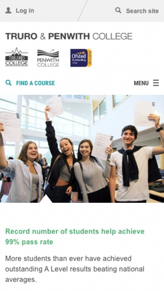 The Truro and Penwith College homepage mocked up on a mobile phone.