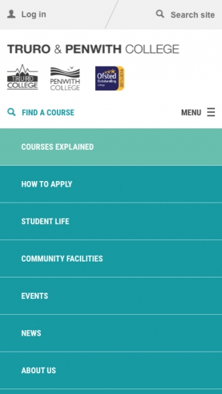 The Truro and Penwith College website navigation mocked up on a mobile phone.