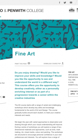 The fine art course page from the Truro and Penwith College website mocked up on a tablet.
