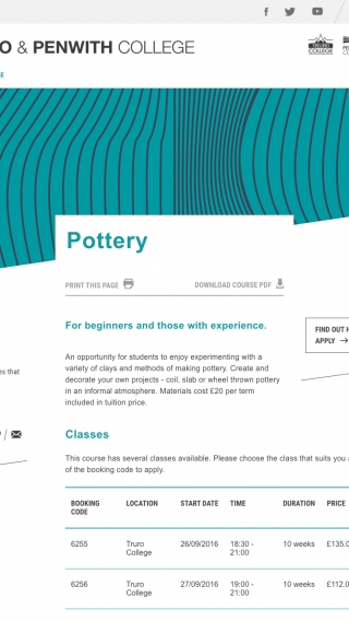The pottery course page from the Truro and Penwith College website mocked up on a tablet.