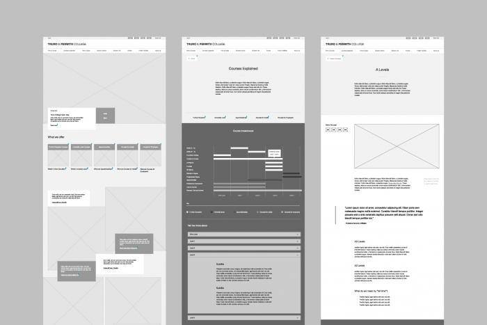 Wireframes for the Truro and Penwith College website.