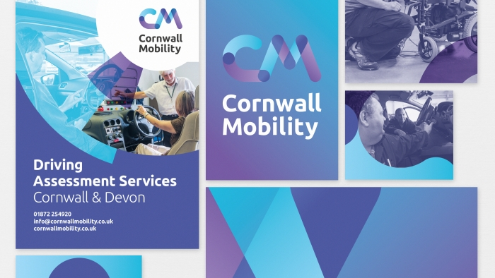 The Cornwall Mobility brand colours and logo in different branding scenarios.