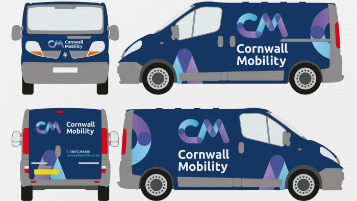 The Cornwall Mobility logo mocked up as van livery.