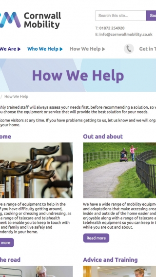 The 'How We Help' page from the Cornwall Mobility website mocked up on tablet.