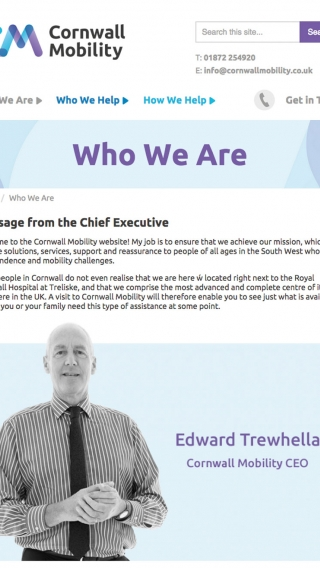 The 'Who We Are' page from the Cornwall Mobility website mocked up on tablet.