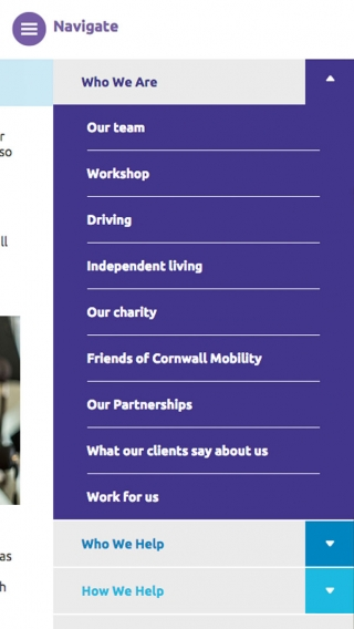 The Cornwall Mobility website navigation mocked up on an iPhone.