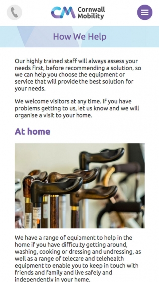 The 'how we help' page from the Cornwall Mobility website mocked up on iPhone.