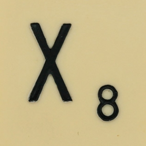 An X and the number 8, from a Scrabble tile.