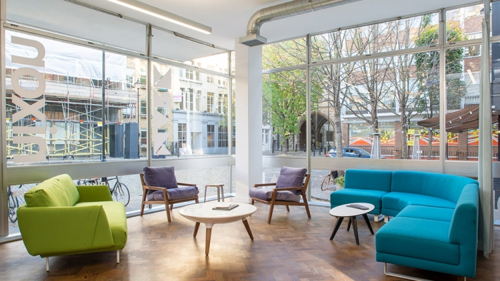Sofas and chairs in the seating are of Nixon Design's office in Clerkenwell, London.