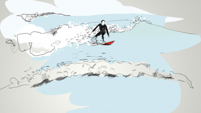 An illustration of a man surfing.