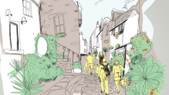 An illustration of holidaymakers walking up a cobbled street in St Ives.