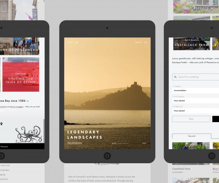 The Penzance website mocked up on three tablets.