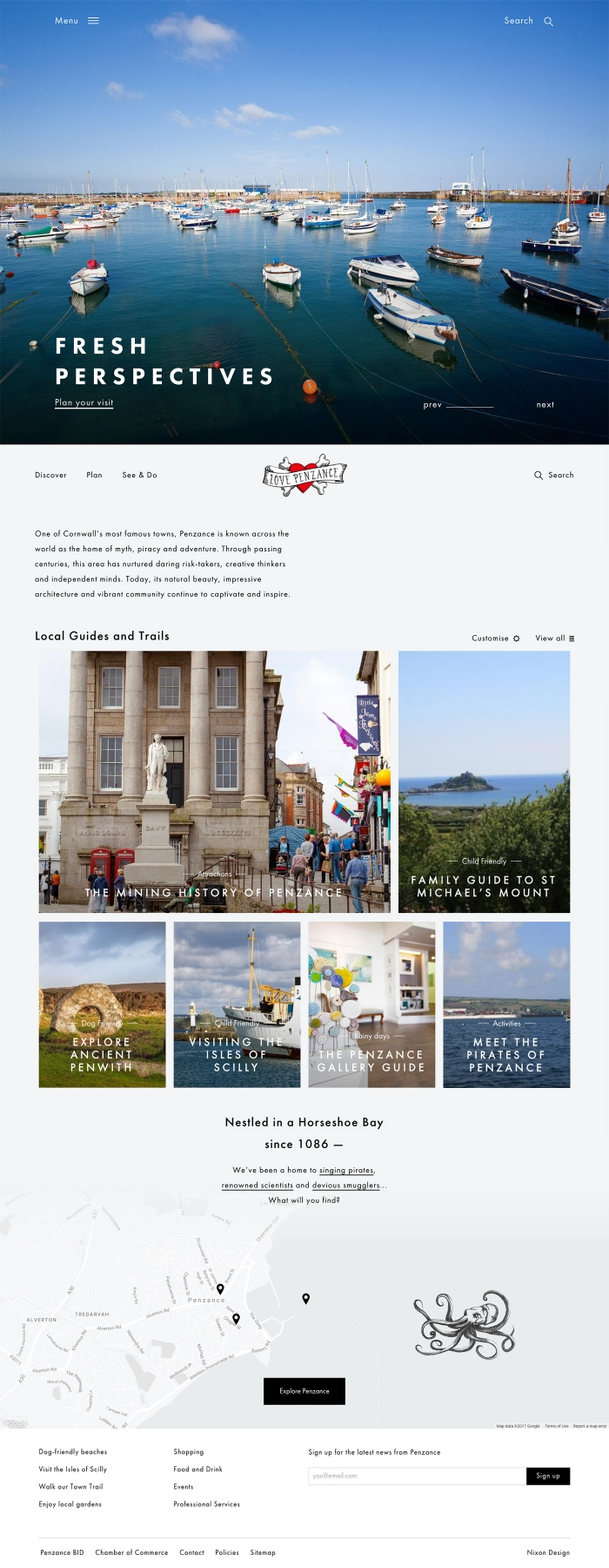 The Penzance website homepage.