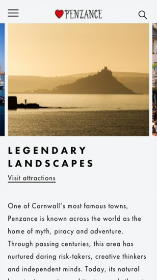 An attractions page mocked up on the Penzance website for mobile.