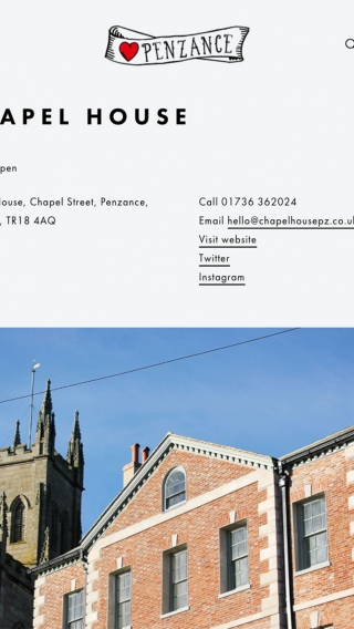 A page for Chapel House boutique B&B on the Penzance website, mocked up on tablet.