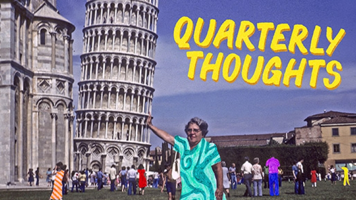 A woman poses as though she's holding up the Leaning Tower of Pisa.