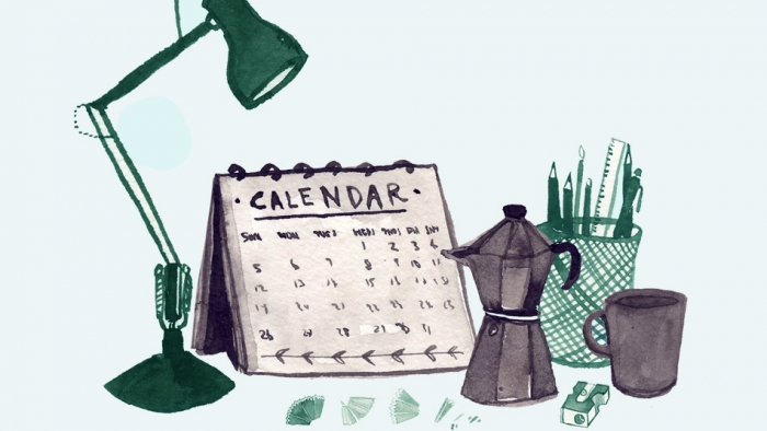 An illustration of desktop items, including a calendar, a desk lamp and a coffee pot.
