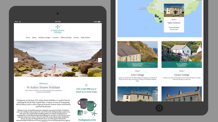The St Aubyn Estates Holidays website mocked up on two tablets.