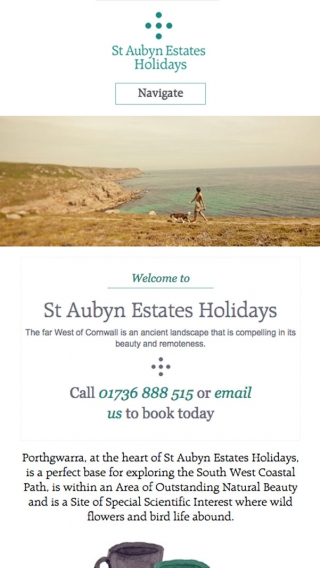 The St Aubyn Estates Holidays website homepage mocked up on mobile.