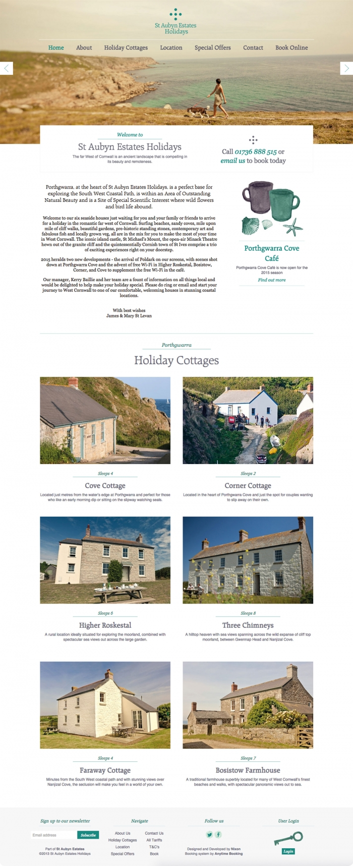 The St Aubyn Estates Holidays website homepage.