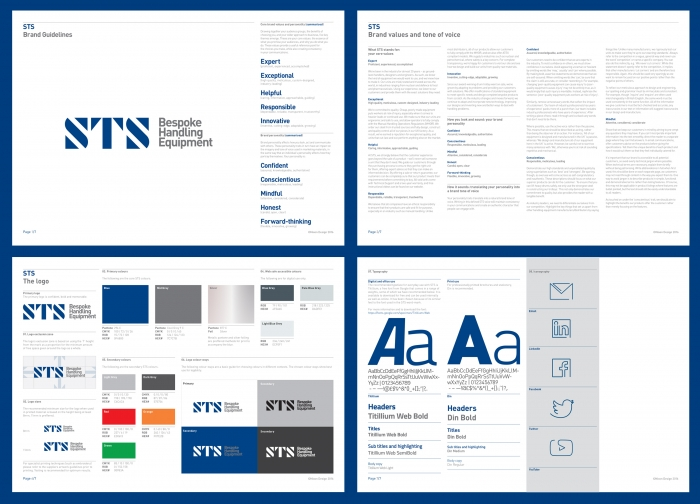 Four pages from the STS brand guidelines, featuring brand values and tone of voice, the logo, colourways and typography.