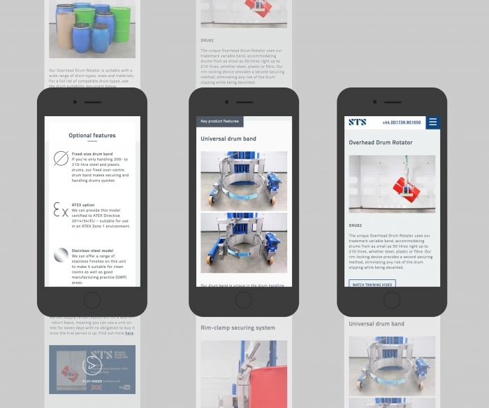 Three STS website pages mocked up on three mobile phones.