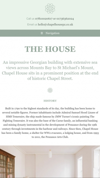 The Chapel House website mocked up on tablet.