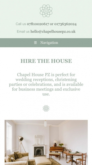 The Chapel House website mocked up on mobile.