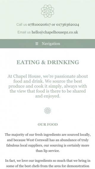The eating and drinking page on the Chapel House website, mocked up on mobile.