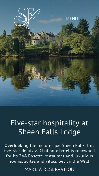 A mobile-phone mock-up of the Sheen Falls Lodge website homepage.