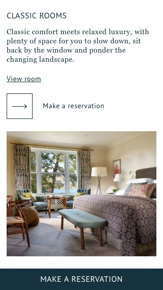 A mobile-phone mock-up of the Sheen Falls Lodge website rooms page.