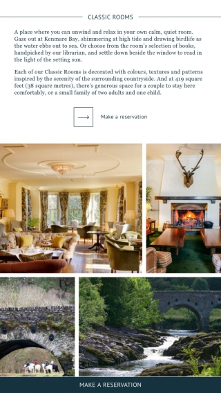 A tablet mock-up of the Sheen Falls Lodge website rooms page.