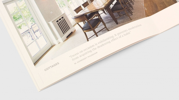 A page from the Sheen Falls Lodge hotel brochure, showing an image of a villa dining room with a guest testimonial beneath.
