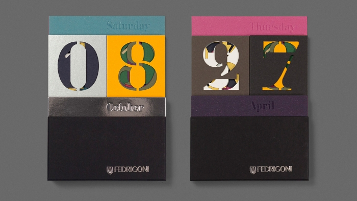 Two Fedrigoni paper calendars side by side.