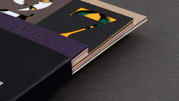A close-up showing the different paper stocks used in the Fedrigoni calendar, designed by Nixon.