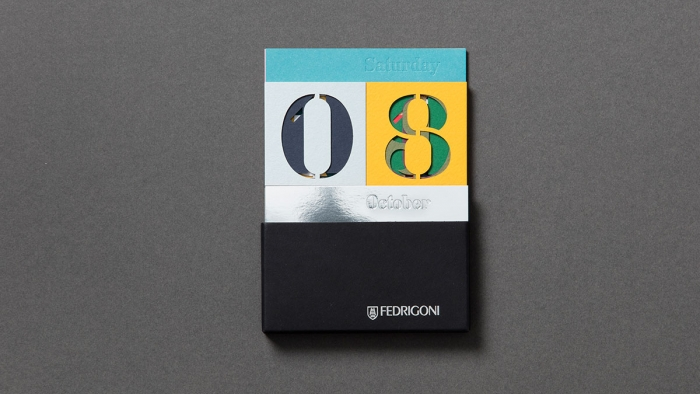 The Fedrigoni calendar by Nixon Design, arranged as Saturday 08 October.