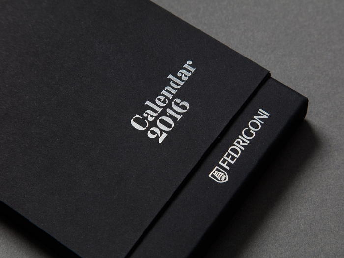 The cover of the Fedrigoni calendar box, with 'Calendar 2016' and the Fedrigoni logo printed in silver.