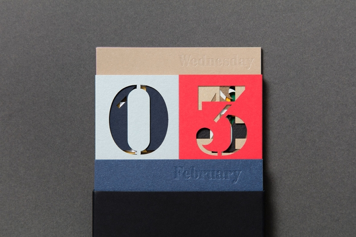 The Fedrigoni calendar by Nixon Design configured to Wednesday 03 February.